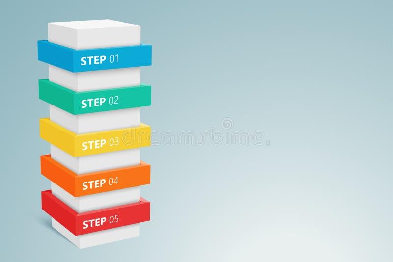 Columna de Infographic con 5 pasos 1 libre illustration