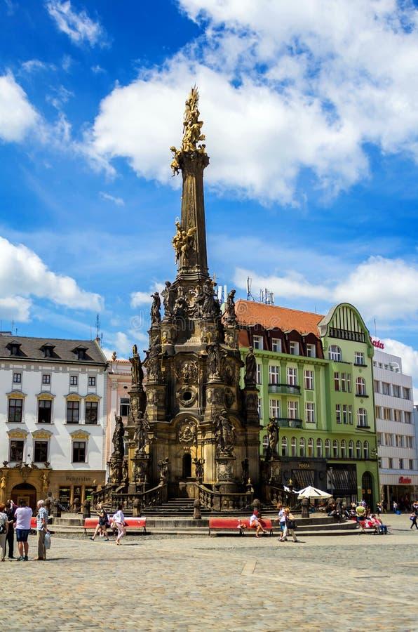 Columna de la trinidad santa en Olomouc, República Checa 14 de junio de 2017 fotografía de archivo