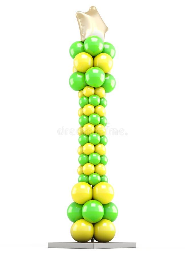 Columna de los globos coloreados aislados en el fondo blanco 3d ilustración del vector