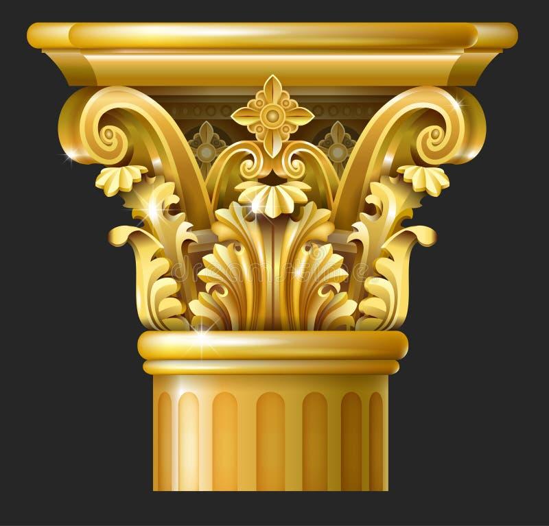 Columna del Corinthian del oro stock de ilustración