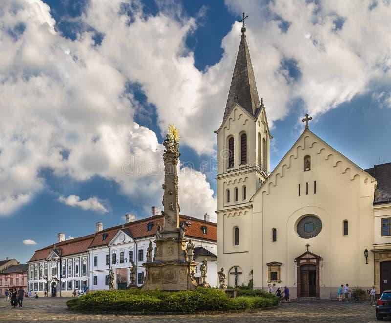 Columna franciscana de la iglesia y de la plaga fotografía de archivo libre de regalías