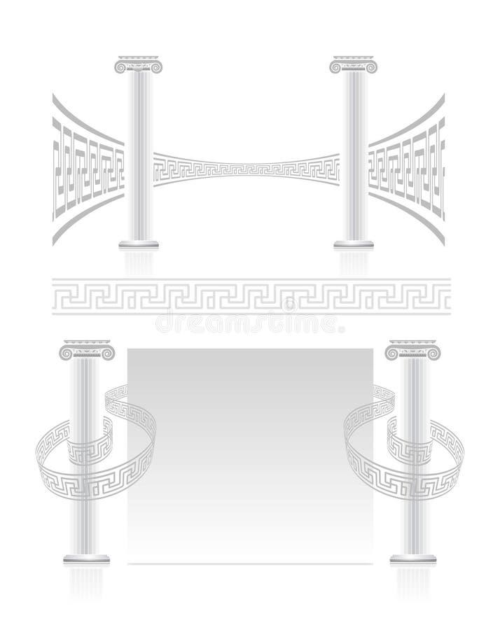 Columna iónica con el modelo dominante griego stock de ilustración