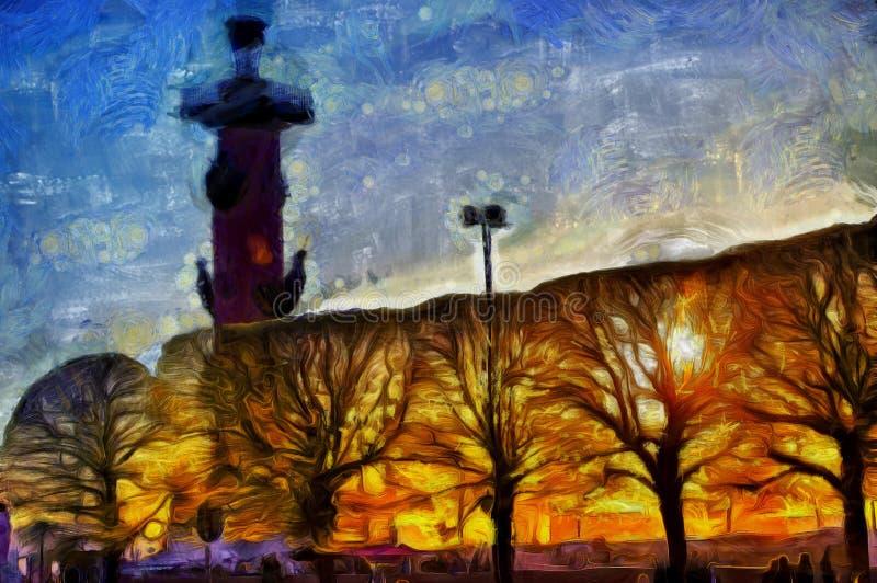 Columna y árboles rostrales en la puesta del sol Rusia, St Petersburg fotos de archivo libres de regalías