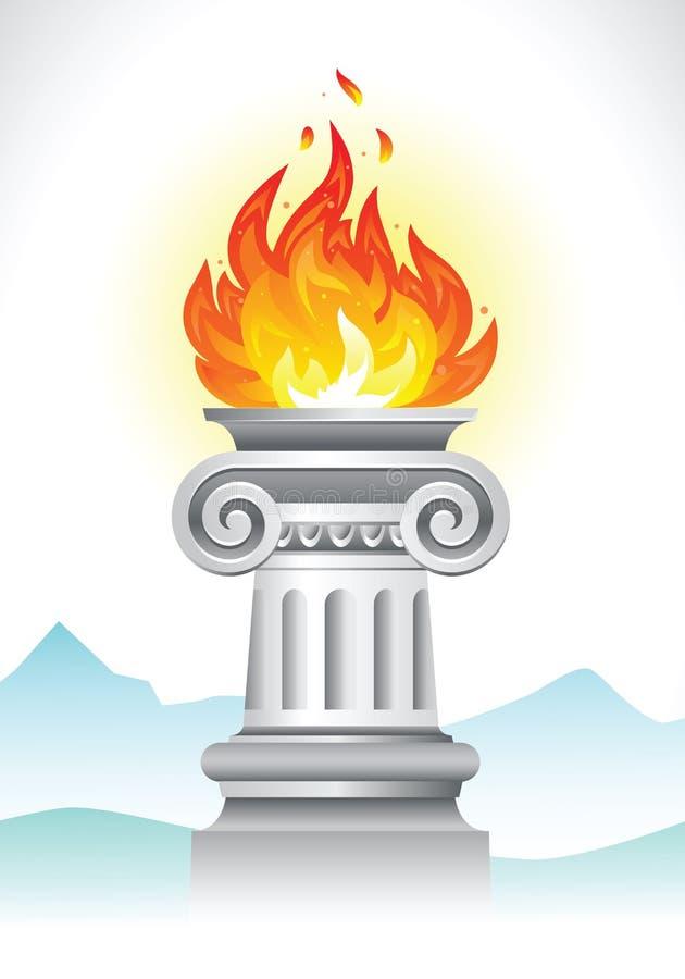 Columna y fuego antiguos ilustración del vector