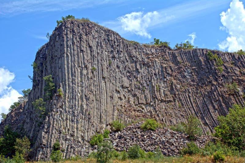 Columnar basalt, Hegyesko, Ungern royaltyfria bilder