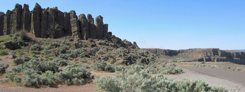 Columnar basalt i östliga Washington fotografering för bildbyråer