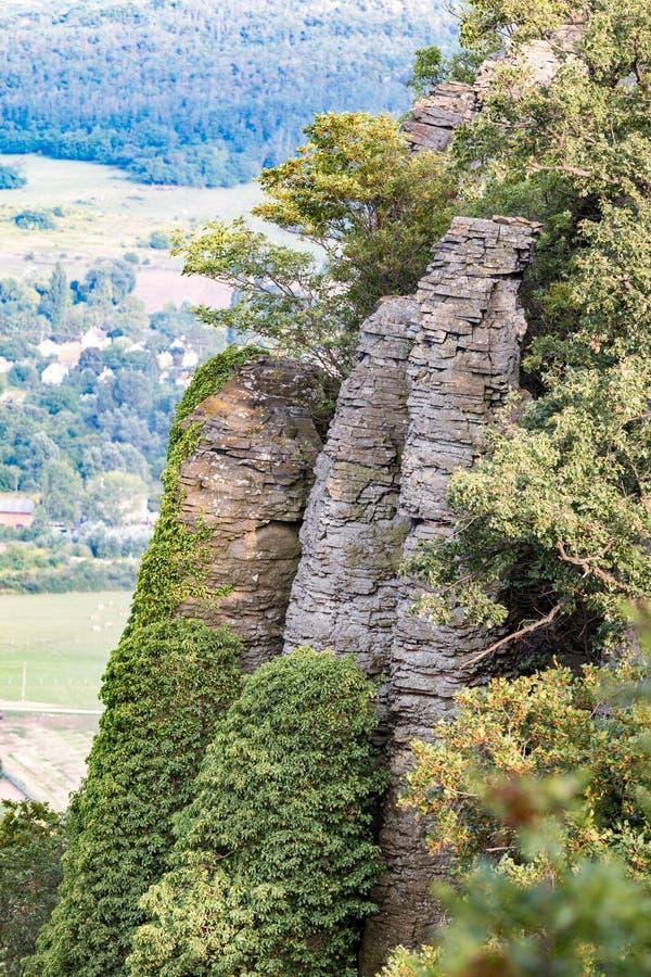 Columnar basalt på Ungern arkivbild