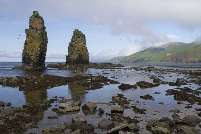 Columnar vaggar eller kekury under lågvattnet på kusten av royaltyfri foto