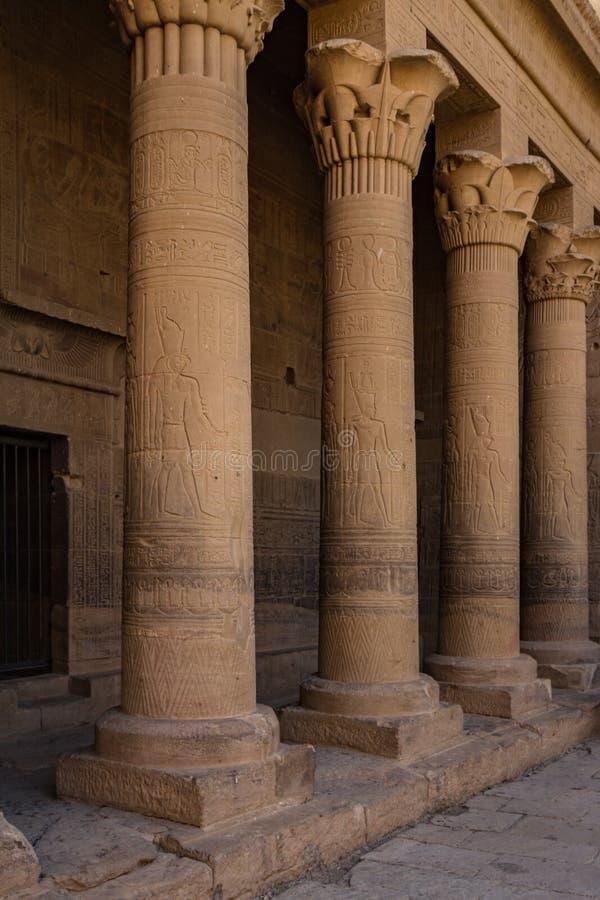 Columnas adornadas con las tallas del alivio en la parte del campo cercana a la red del templo de ISIS, Philae, Asuán, Egipto fotografía de archivo libre de regalías