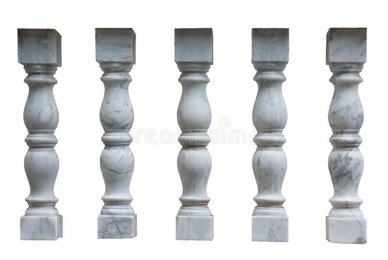 Columnas blancas del yeso, balaustres para las escaleras foto de archivo libre de regalías