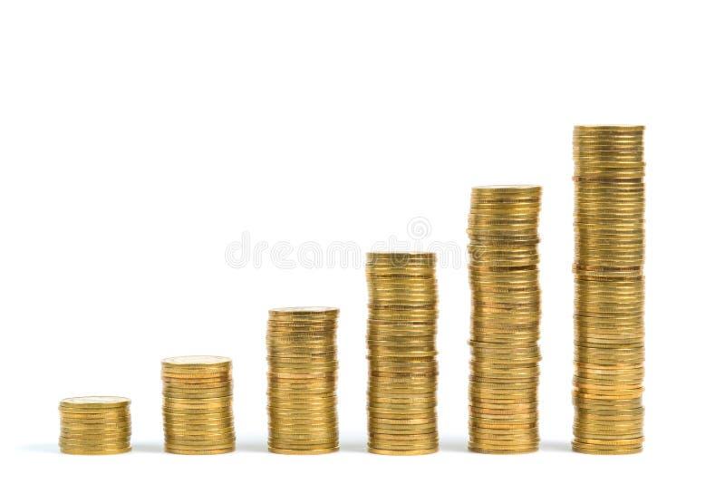Columnas cada vez mayores de las monedas, paso de la moneda de las pilas aislado en whi foto de archivo libre de regalías