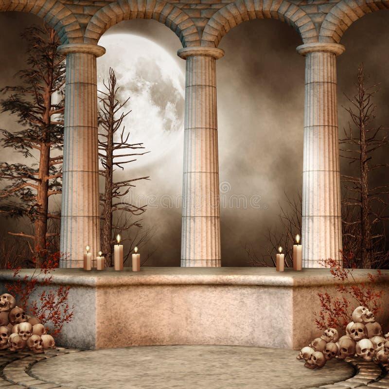 Columnas de mármol con los cráneos stock de ilustración