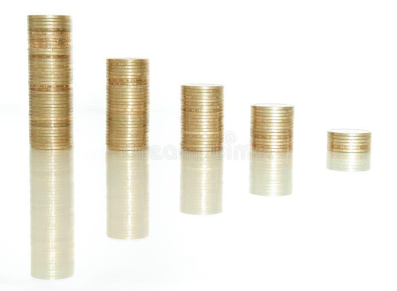 Columnas de monedas de oro fotografía de archivo libre de regalías