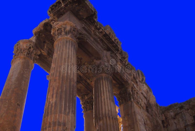 Columnas del Corinthian en Baalbek fotos de archivo libres de regalías