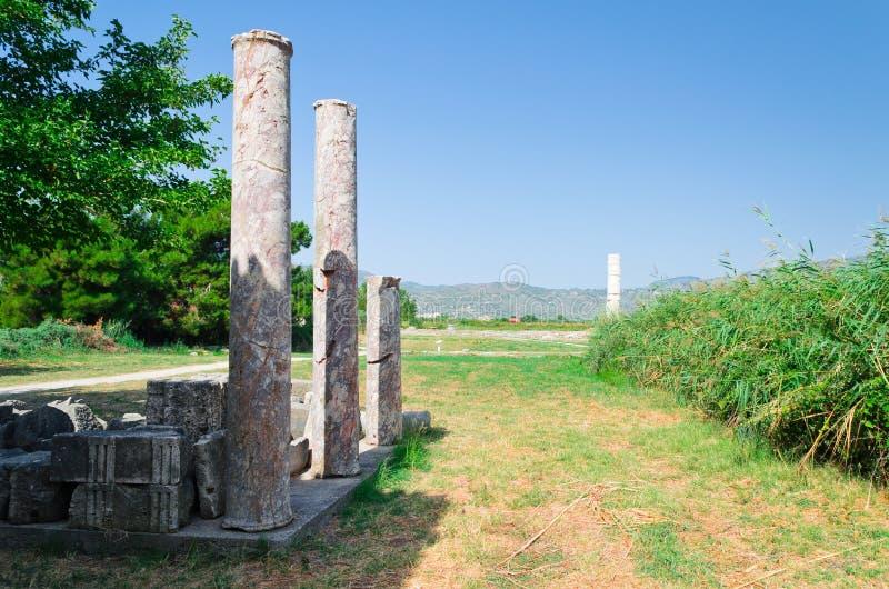 Columnas en Heraion foto de archivo