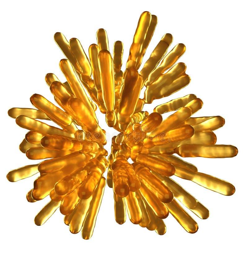 Columnas flúidas congeladas de oro abstractas en forma esférica aisladas libre illustration