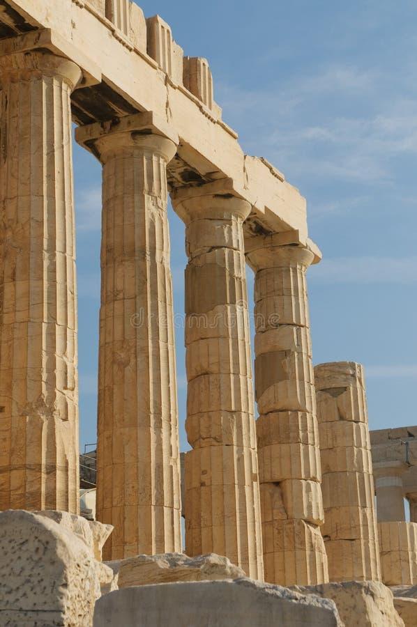 Columnas griegas, acrópolis, Atenas foto de archivo libre de regalías