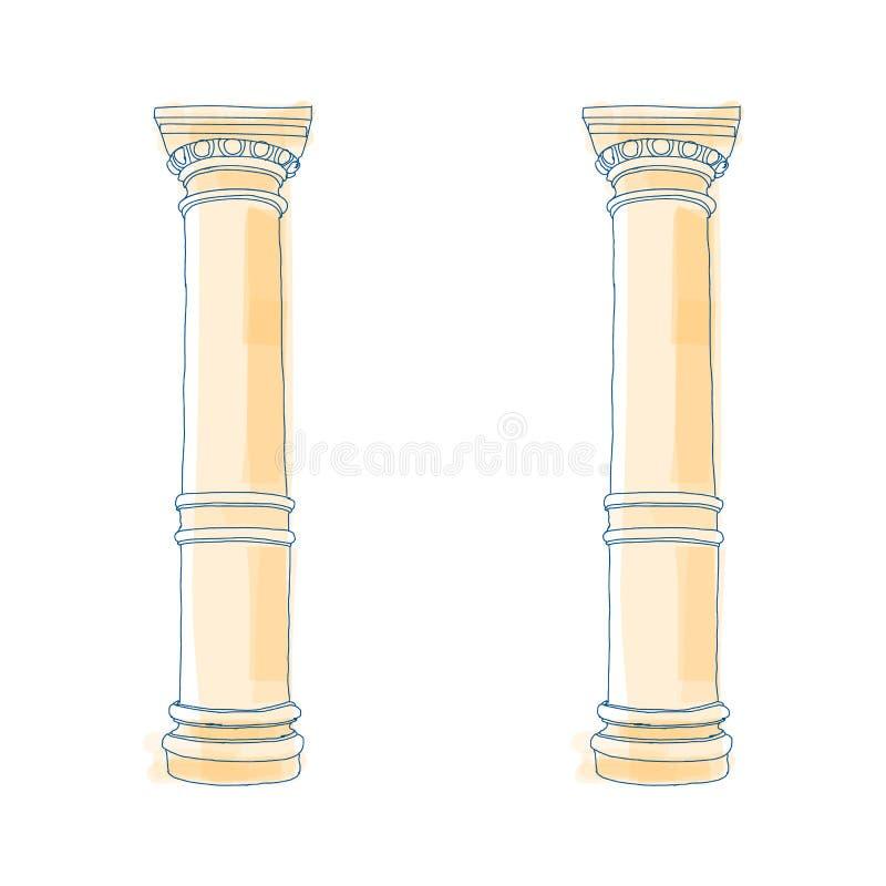 Columnas iónicas dóricas del Corinthian de la columna griega estilizada del garabato Ilustración del vector Ayuda arquitectónica  stock de ilustración