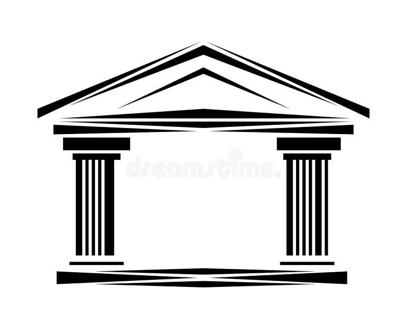Columnas iónicas del arco de la fachada clásica romana del logotipo ilustración del vector
