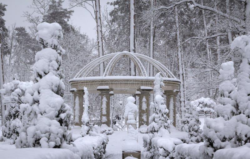 Columnata hermosa en el parque nevoso, mañana fresca del invierno de Bucha Ucrania fotografía de archivo libre de regalías