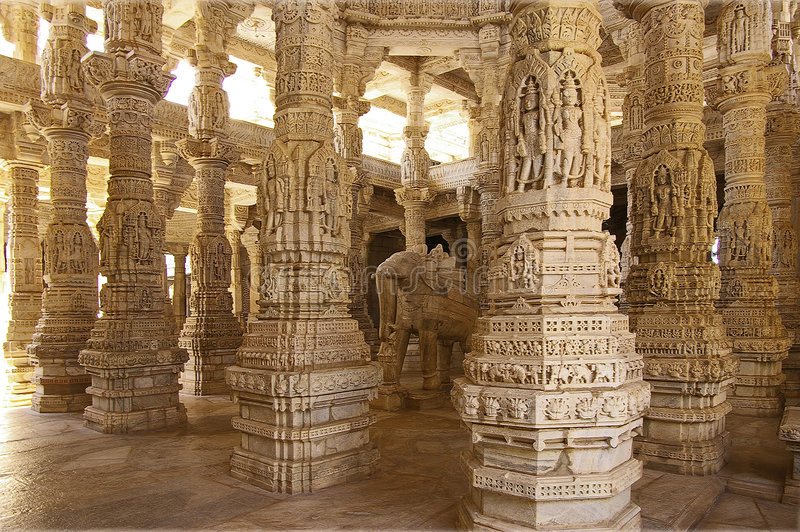 Columned hall of a Jain Temple in Ranakpur,India stock photography