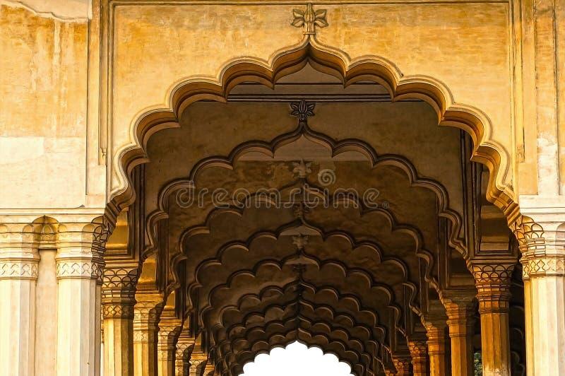 Columned zaal in Rood Fort. Agra, India stock afbeeldingen