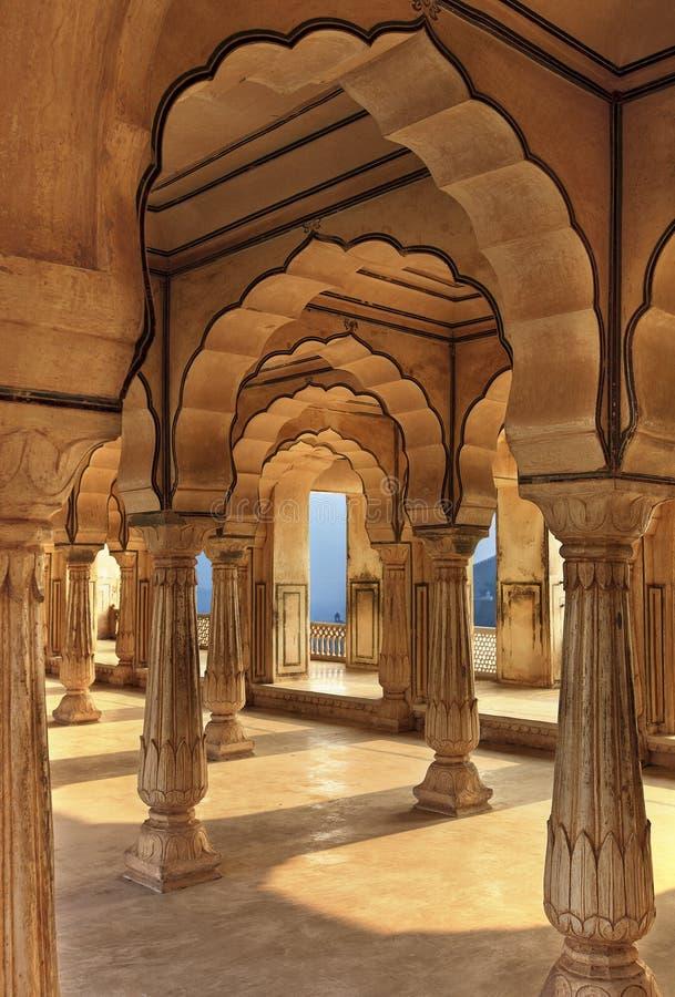 Columned zaal van Amberfort, Jaipur, India stock afbeelding