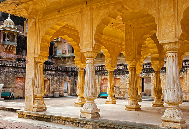 Columned zaal van Amberfort Jaipur, Rajasthan, India stock afbeelding