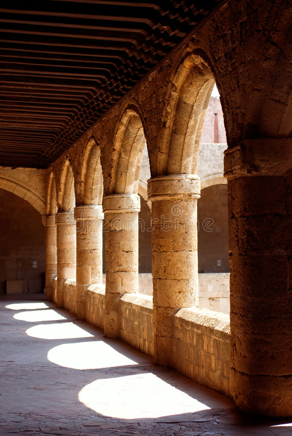 Columns. Row of columns in The Palace of Grand Magisters. Rhodes. Greece royalty free stock photography