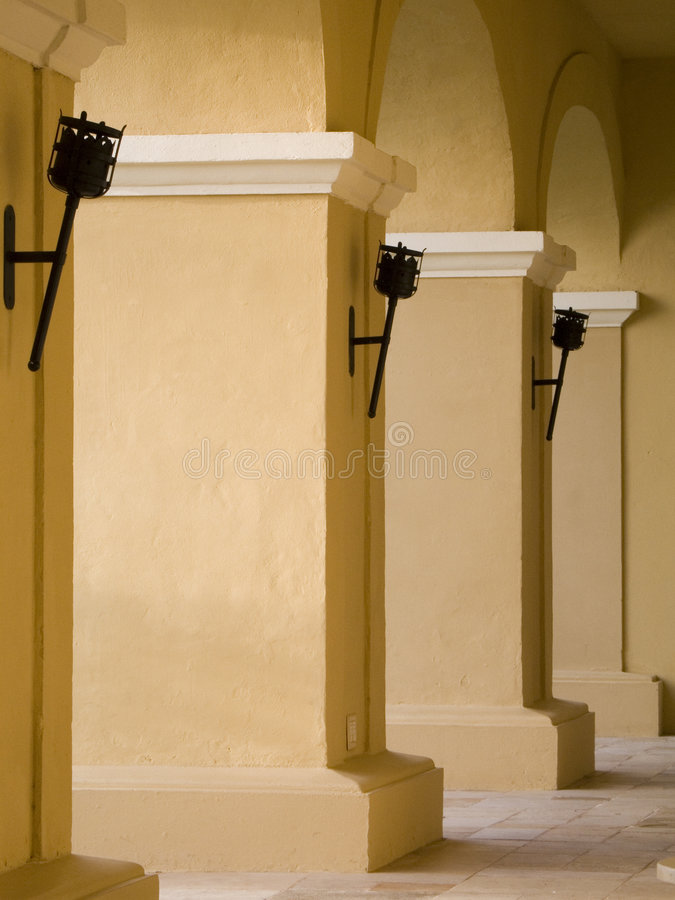 Columns. With lights in patern stock images