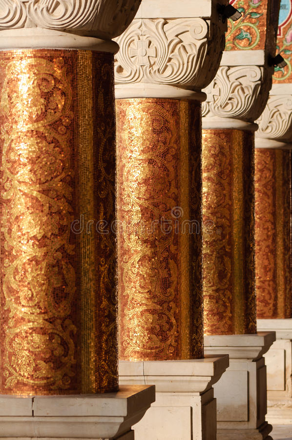 Columns in an ancient orthodox monastery vector illustration