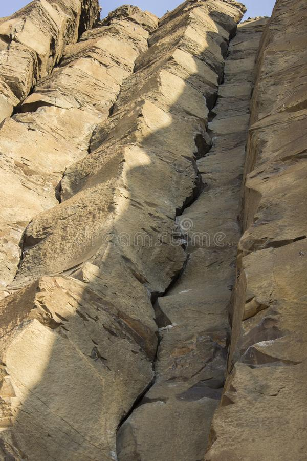 Columns of Basalt. A cliff of columns and cracks made of columnar basalt outside of Vantage, Washington stock photography