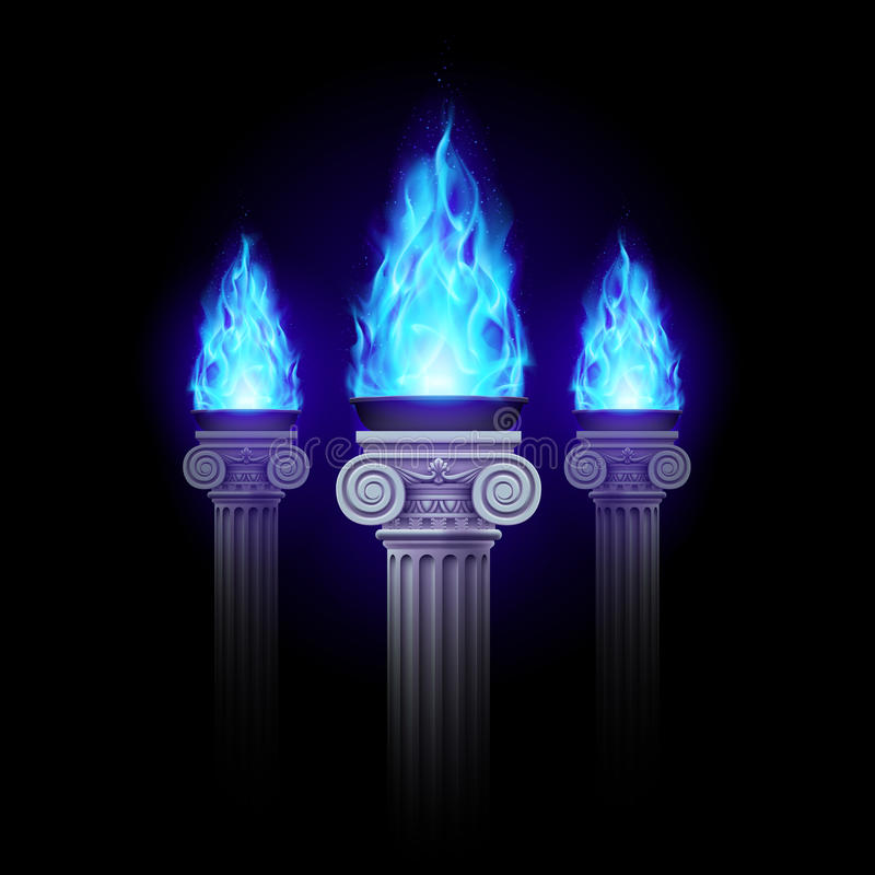 Columns with blue fire vector illustration