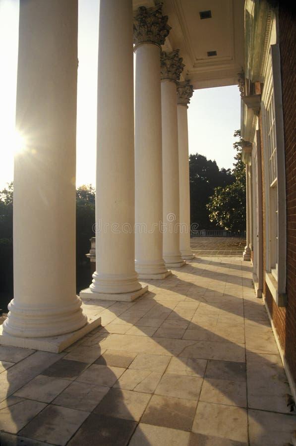 Columns on building at University of Virginia inspired by Thomas Jefferson, Charlottesville, VA royalty free stock photo