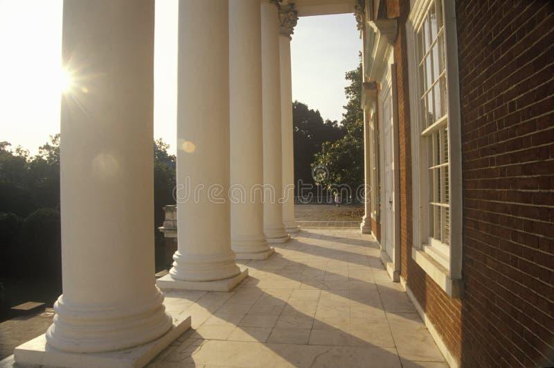 Columns on building at University of Virginia inspired by Thomas Jefferson, Charlottesville, VA royalty free stock image