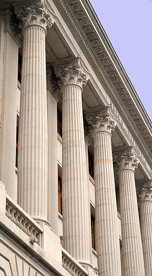 Columns on a Central Bank royalty free stock images