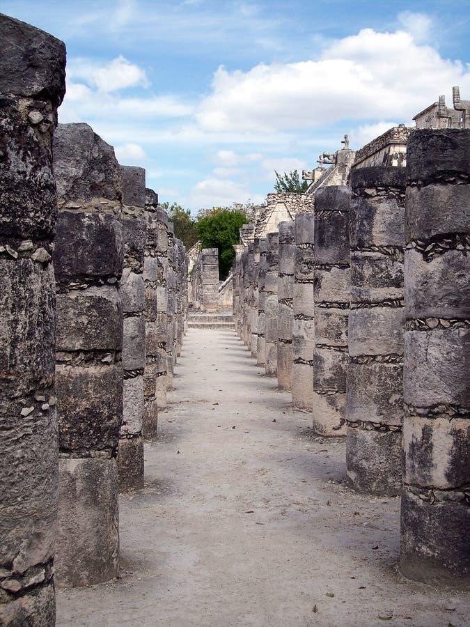Columns at Chichen-Itza, Mexico stock photo