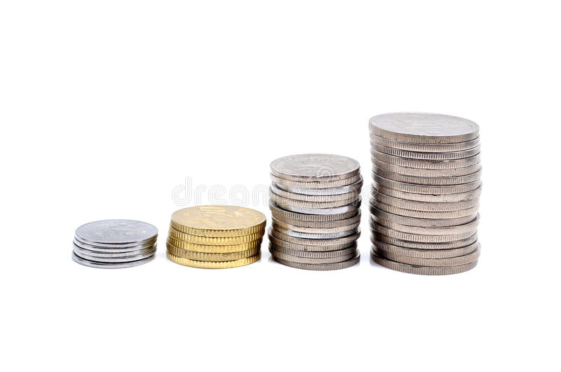 Columns of coins. Savings, increasing columns of coins isolated on white background stock photos