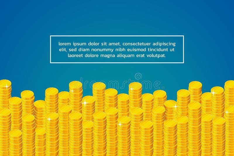Columns of coins at the bottom and sample text above them royalty free illustration