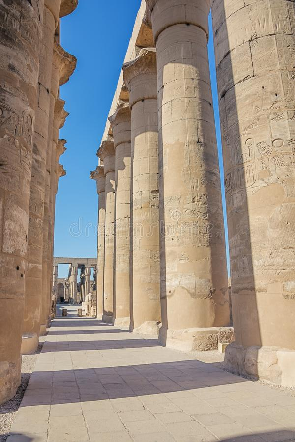 Columns in the court of Ramesses II stock photos
