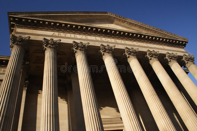 Columns of a courthouse stock images