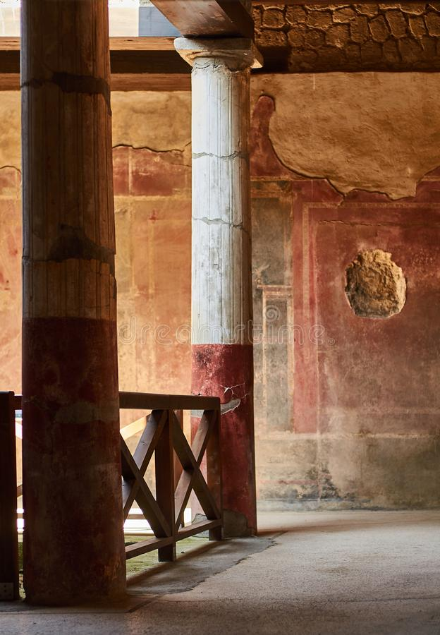 Columns in a domus of Pompeii,. Columns inside an ancient Roman house in Pompeii, Italy stock photo