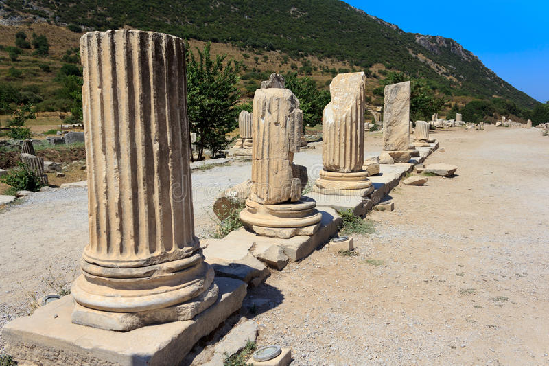 Columns In Ephesus, Turkey Stock Images