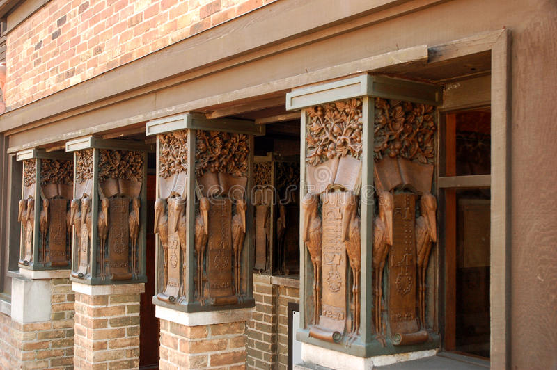 Columns at the Frank Lloyd Wright Museum. Details of the Columns at the Frank Lloyd Wright Home and Studio, Oak Park, Illinois stock images