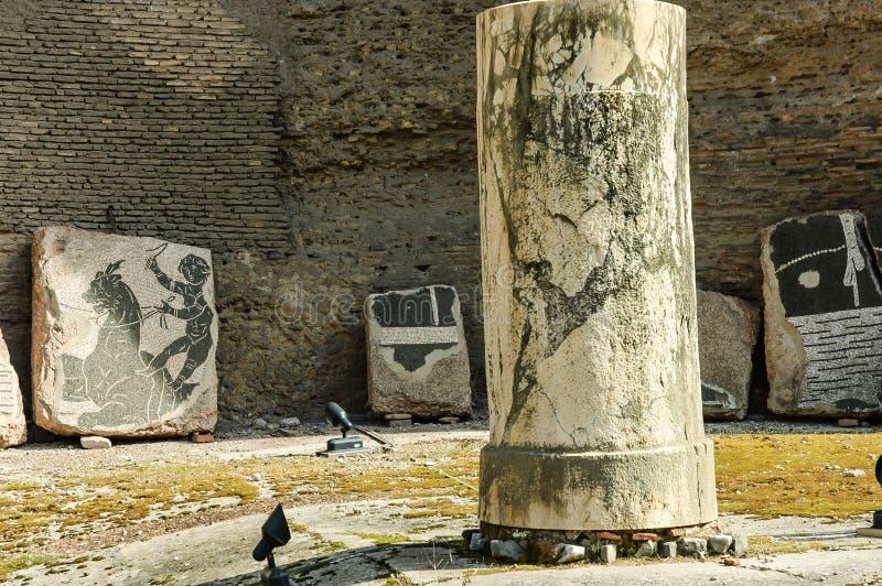 Columns and fresco in Baths of Caracalla stock photos