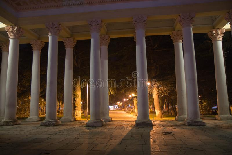 Columns in front of the entrance. Autumn night landscape in the park alley trees stock photos