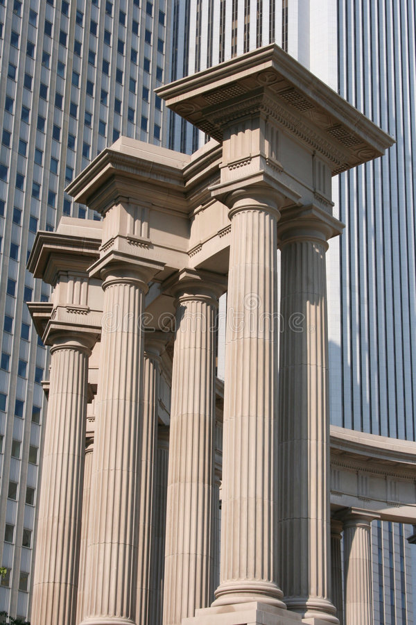 Download Columns In Front Of Skyscraper Stock Photo - Image of cement, park: 173404