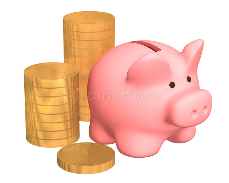Download Columns Of Gold Coins, Near To A Pig A Coin Box Stock Illustration - Image: 4504671