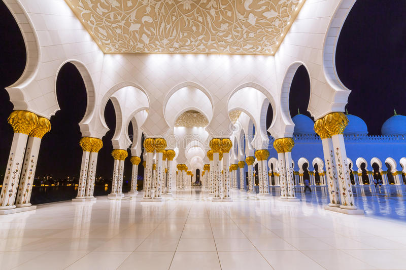 Download Columns Of Grand Mosque In Abu Dhabi Stock Image - Image: 40147997