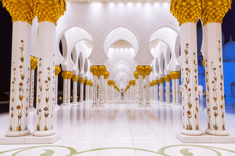 Download Columns Of Grand Mosque In Abu Dhabi Stock Photo - Image: 40148048